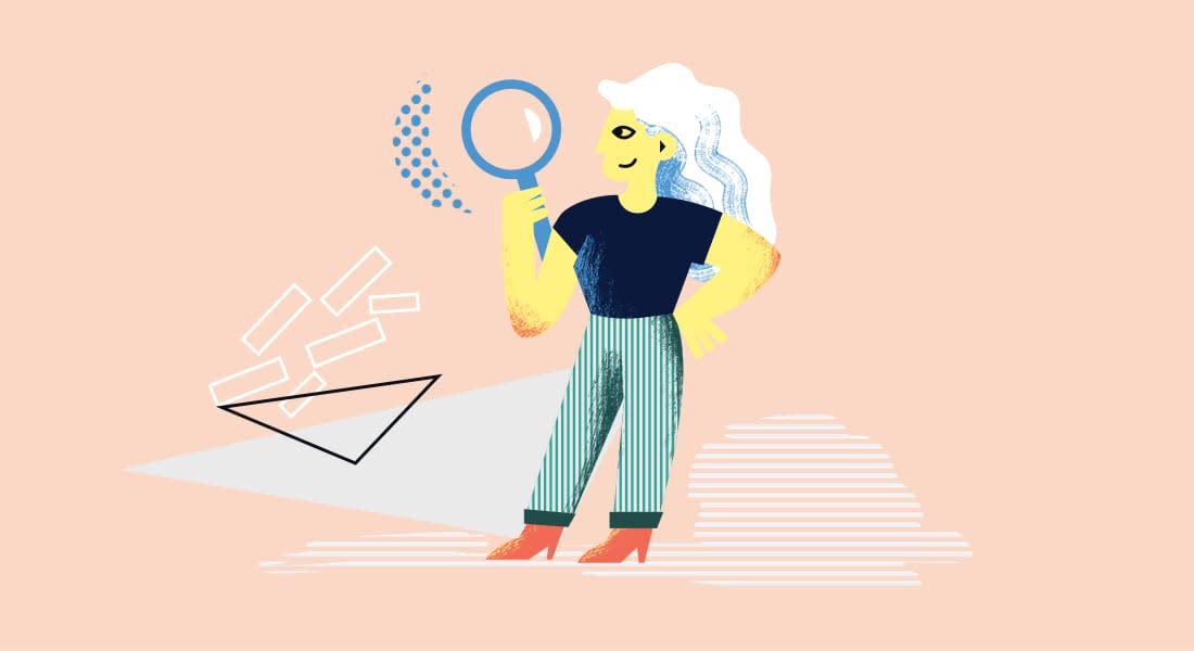 An illustration of a woman holding a magnifying glass. She's smiling quietly to herself and she looks for new ways to help her students develop new academic writing skills. I think she's just spotted Cadmus.