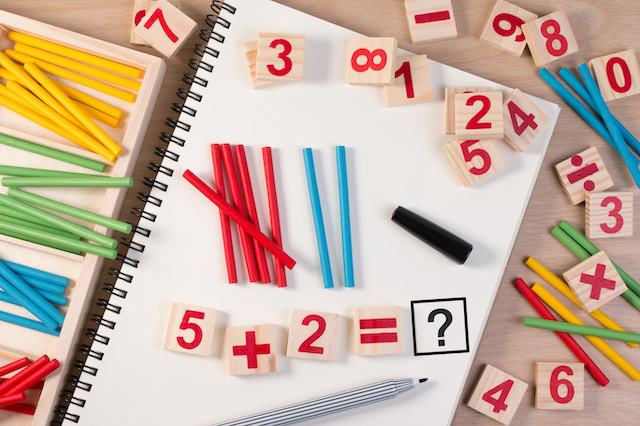 math games on a table for family learning