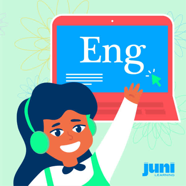 Illustration of a child raising their hand to answer a question in English class, with a computer displayed in the background