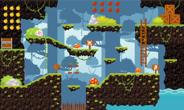a platformer game with levels