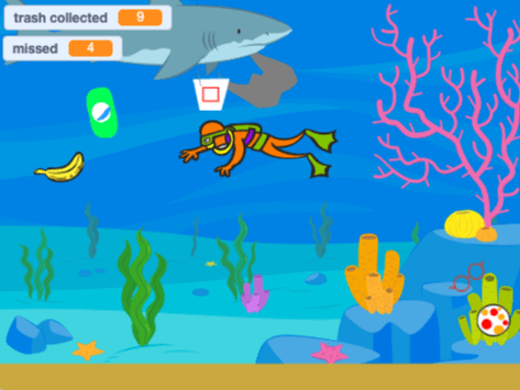 A screenshot from Eva's Ocean Cleanup game.