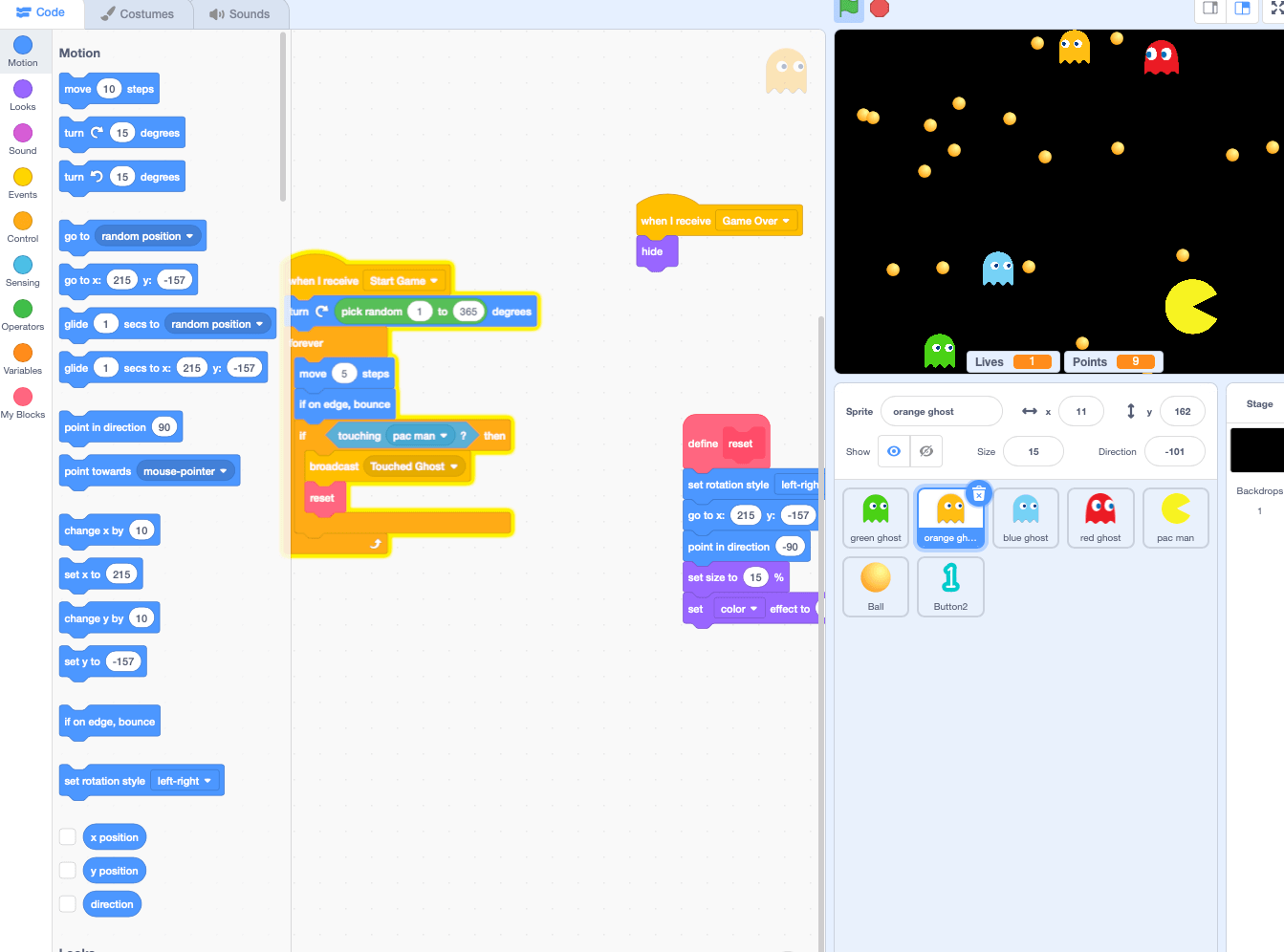 A pac-man game built with the scratch coding language