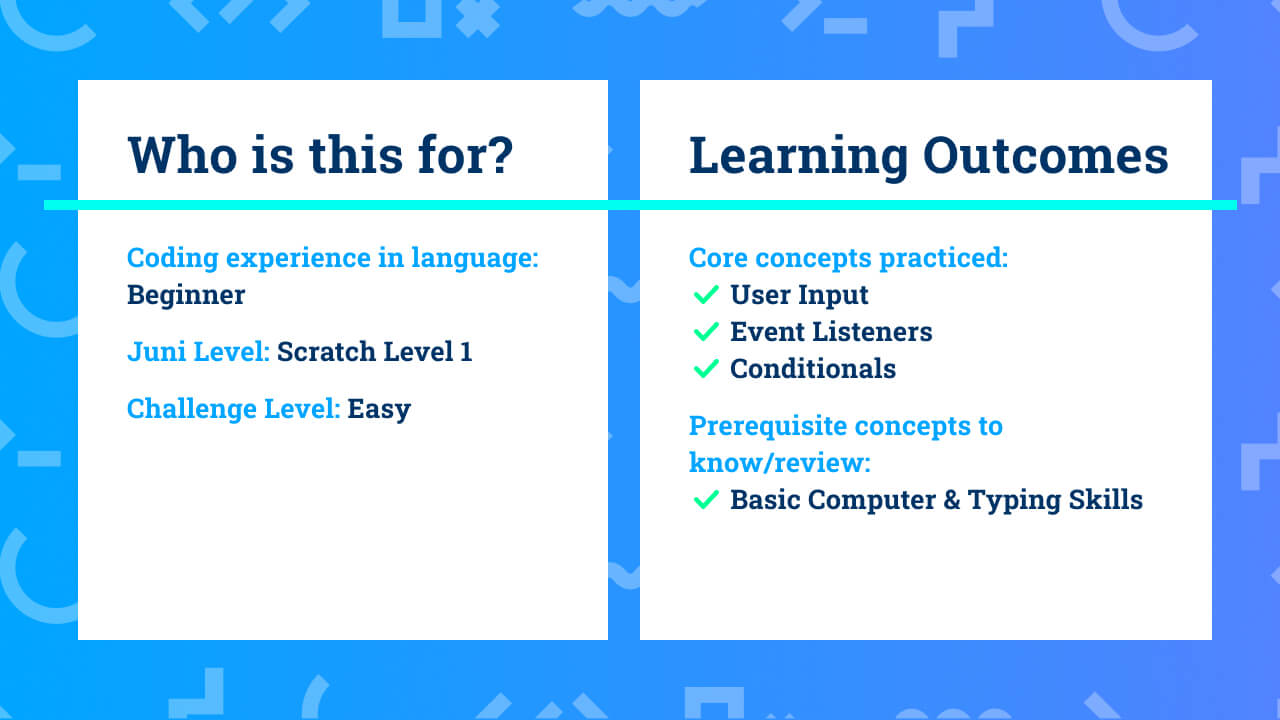 The learning outcomes for complete beginner Scratch coding project Intro to Scratch—Setting Up.
