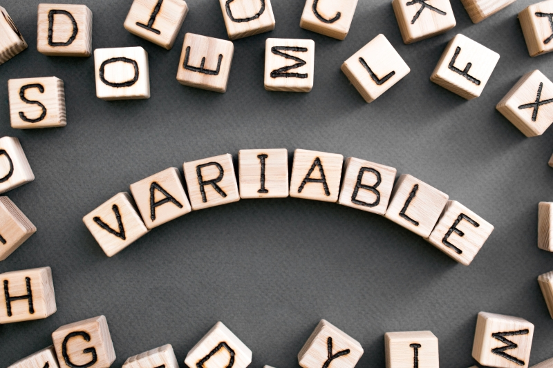 Wooden letter blocks are put together to spell the word 'variable'.