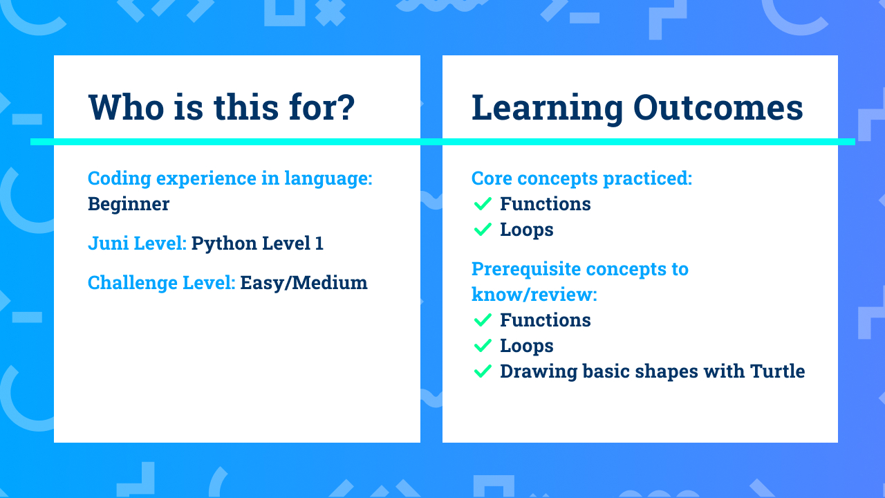 The learning outcomes for Beginner Python with Turtle coding project Zoom Bloom.