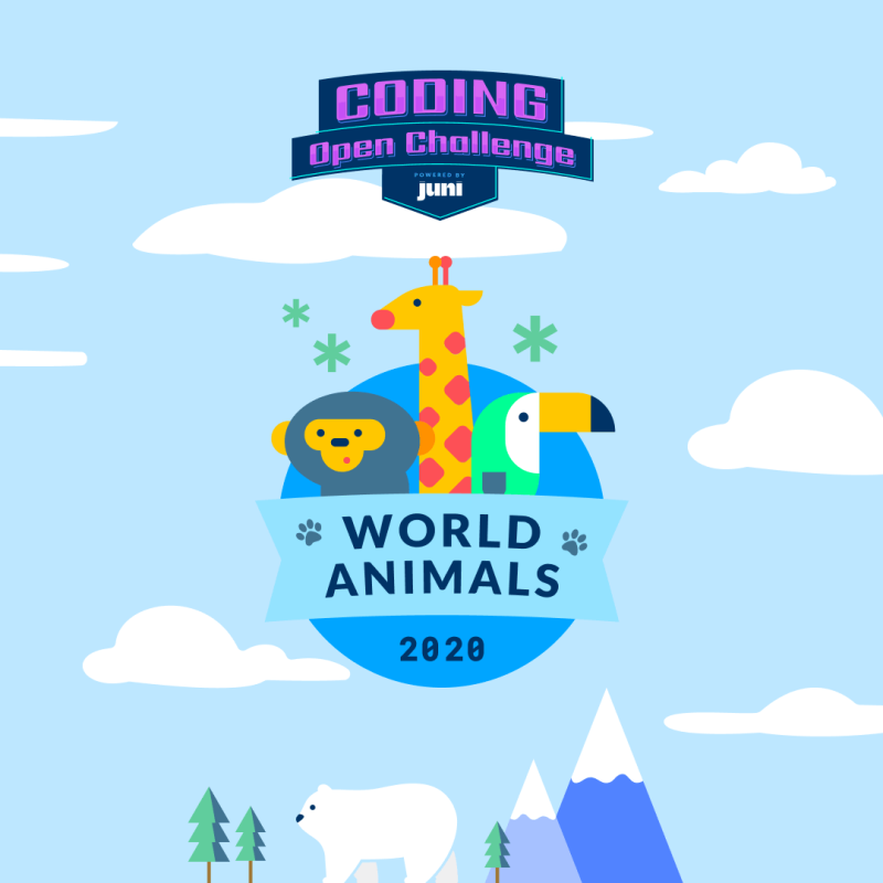 Juni Coding open challenge world animals logo 2020