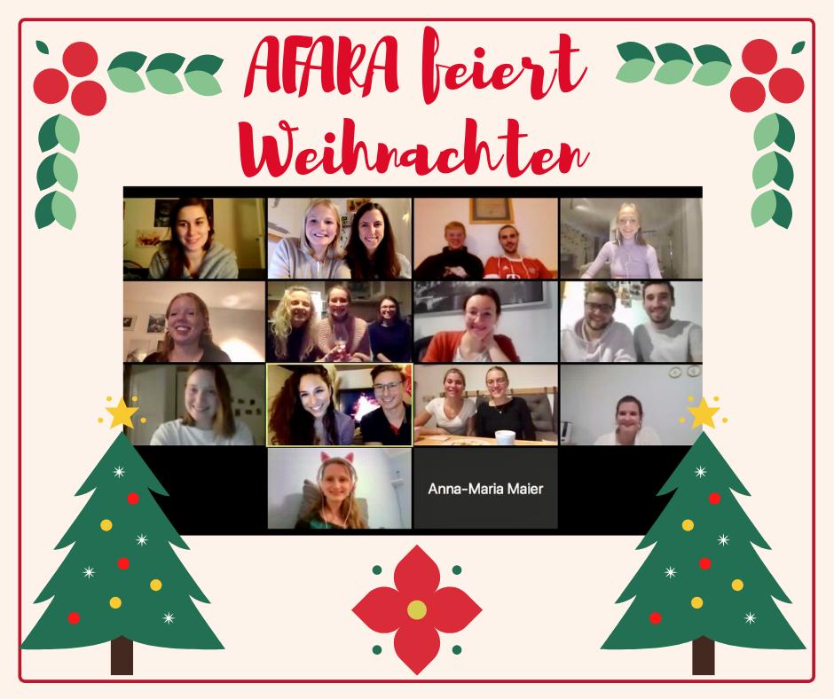 Auf dem weihnachtlichen Plakat sieht man einen Bildschirmausschnitt von einer Zoom Konferenz auf der ein Gruppe von jungen Leuten fröhlich in die Kamera lächelt.