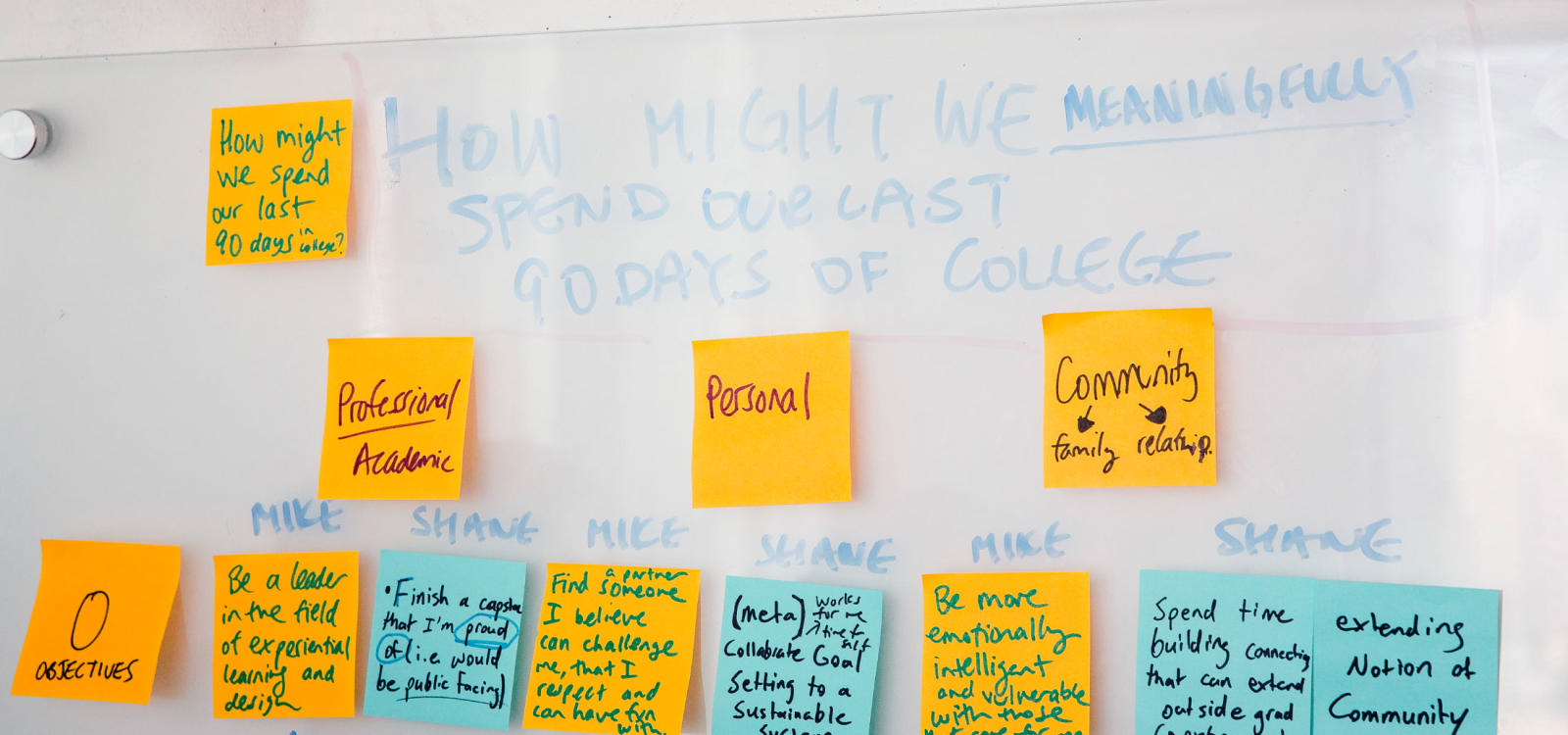 Minerva Schools at KGI, white board, okrs, post-it notes