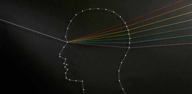 string art depicting a head as a prism