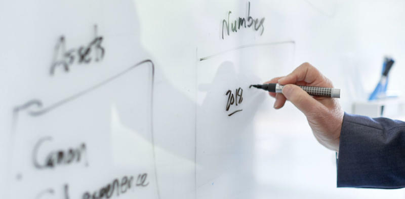 hand writing okrs on a whiteboard