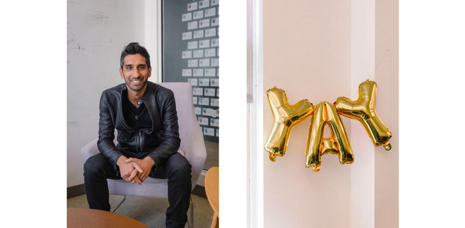 "rahul vohra ceo of superhuman, rahul vohra superhuman okrs, balloons that spell ""yay"""