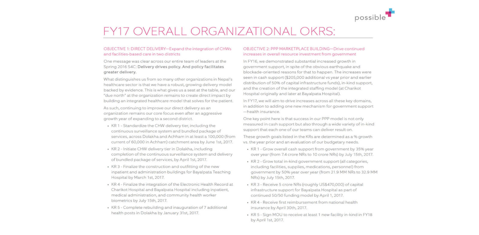 possible health's organizational OKRs