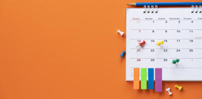 OKR calendar on an orange background