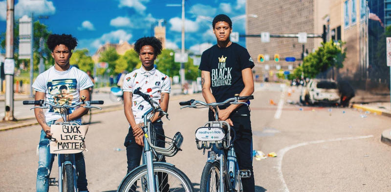 black youth on bikes