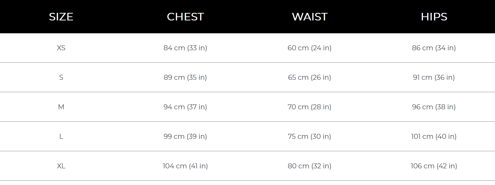 Womens size guide updated