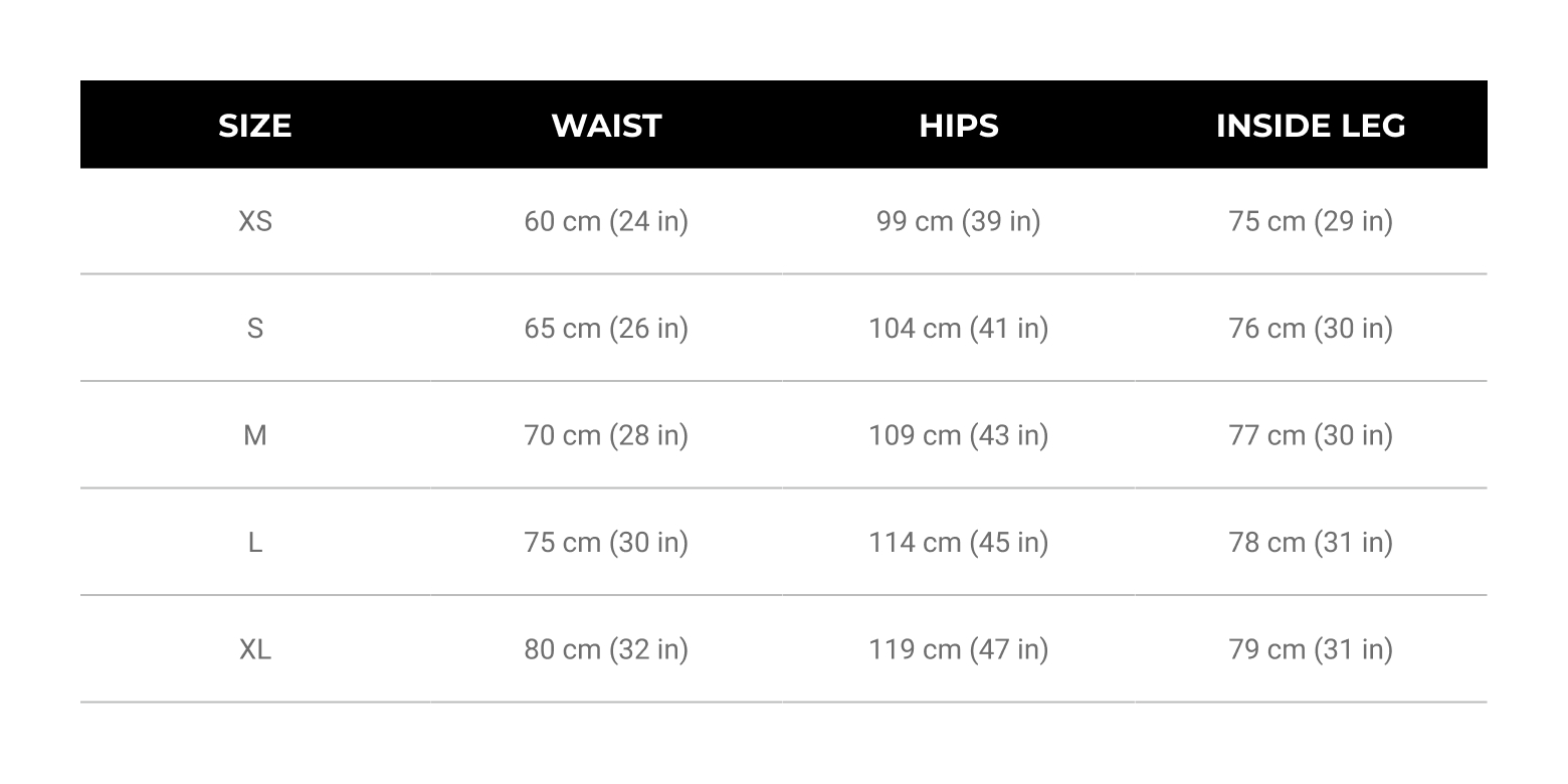 Womens Size Guide Bottoms