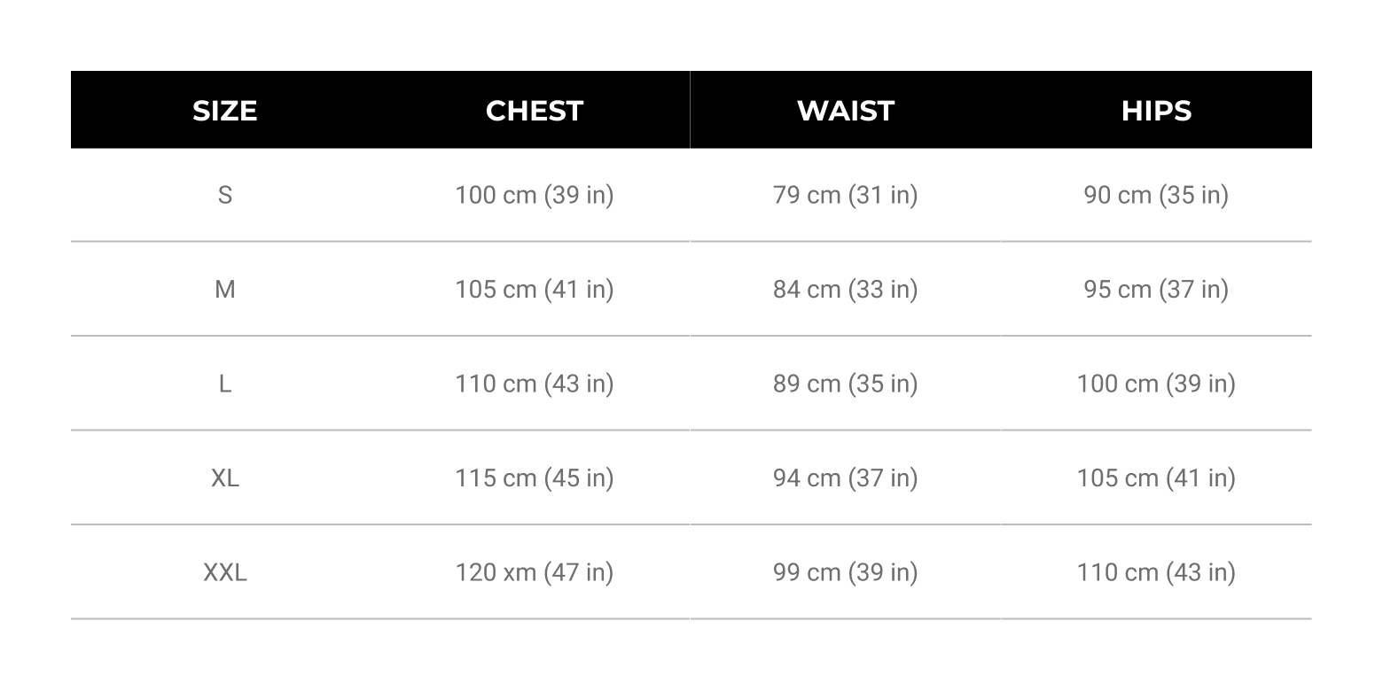 Mens Size Guide Tops