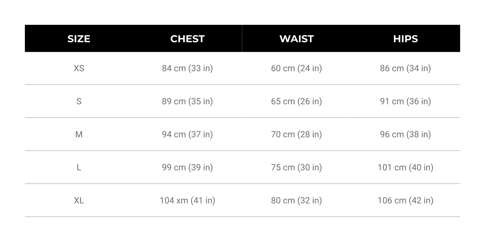 Womens Size Guide Tops