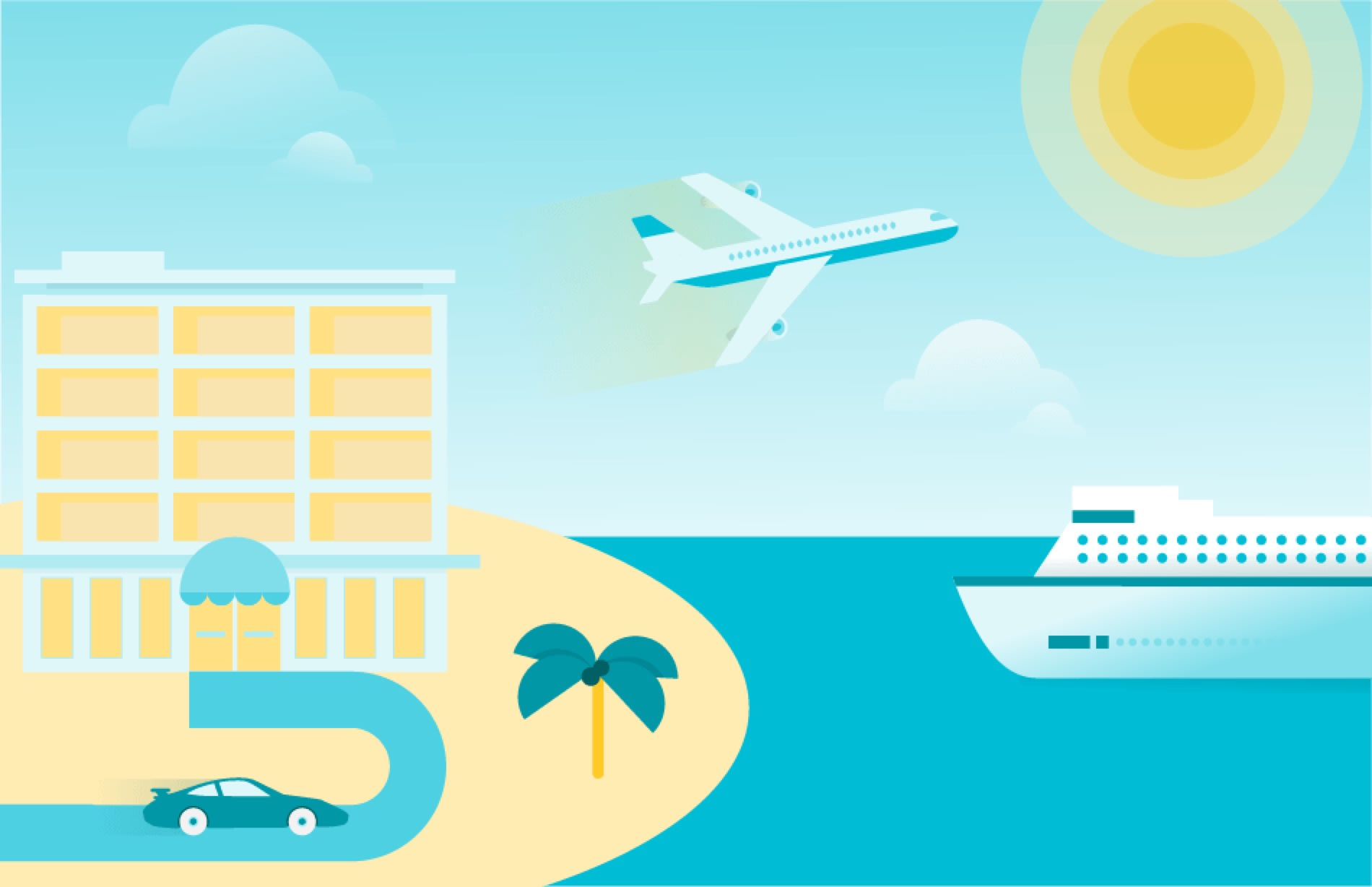 A custom illustration depicts a resort, a plane, and a boat.