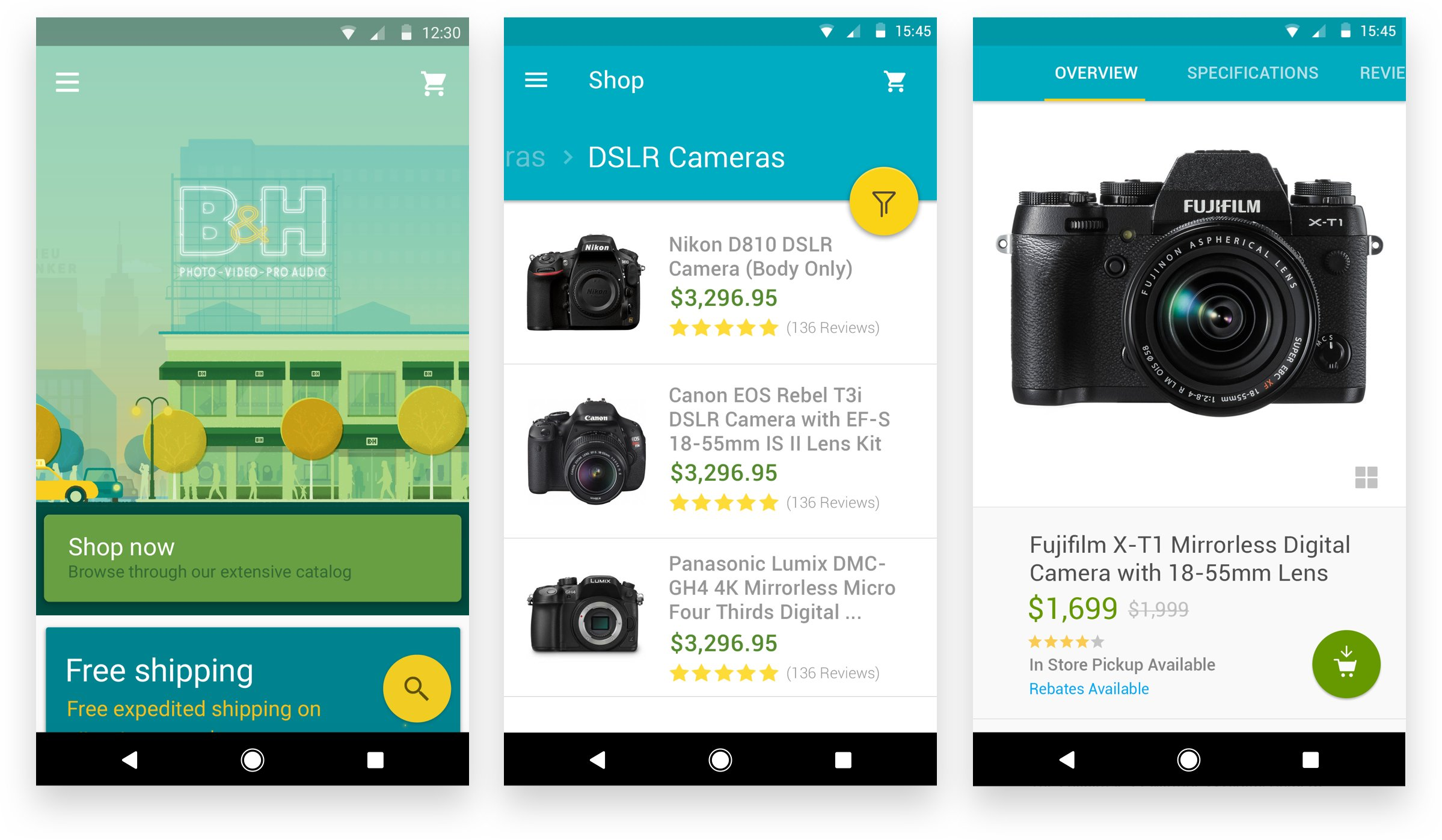 576f9830488c 3 iPhone screens showing DSLR cameras. two iphone images showing item  checkout. Material Design Illustrations