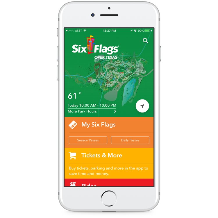 White iPhone shows home page for Over Texas Six Flags park.