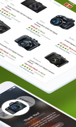 cameras on the B&H Photo website