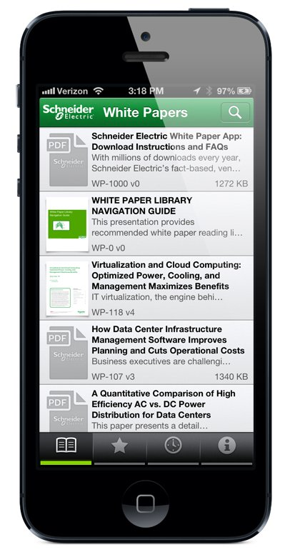 Schneider Electric white papers shown on the iPhone app.