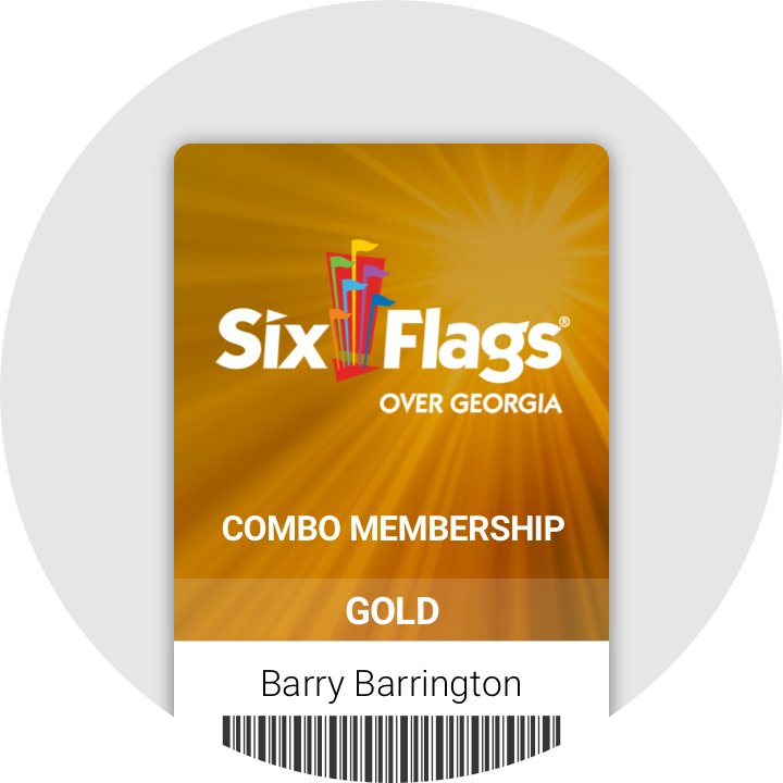 An illustration shows a combo membership with barcode for the Over Georgia Six Flags park.