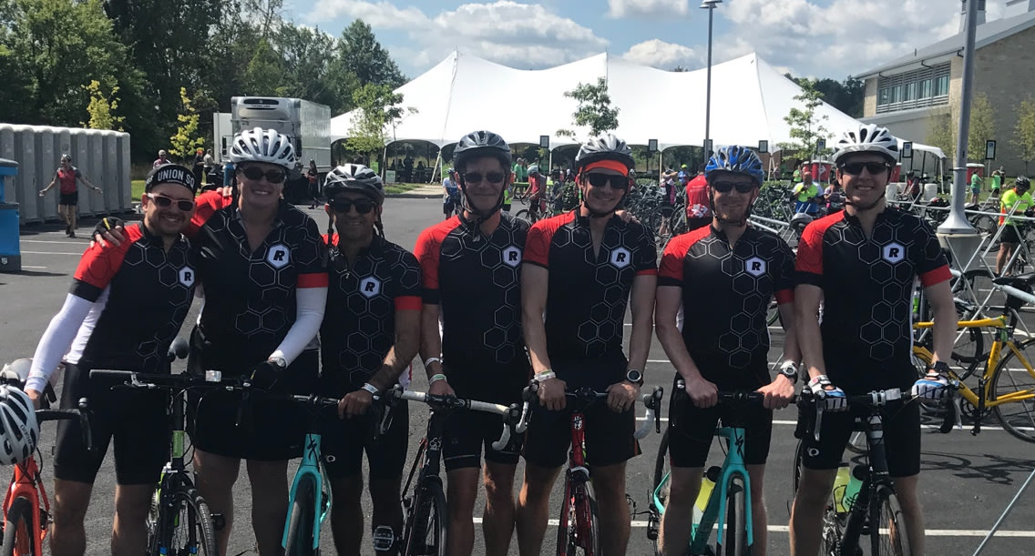 The Raizlabs team at the finish line for the Pelotonia 2017.