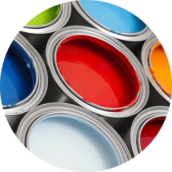Open paint cans show vibrant colors.