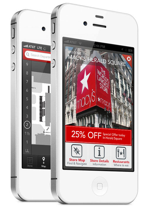 The Macy's iPhone app shows a 25% off discount code on a white iPhone.