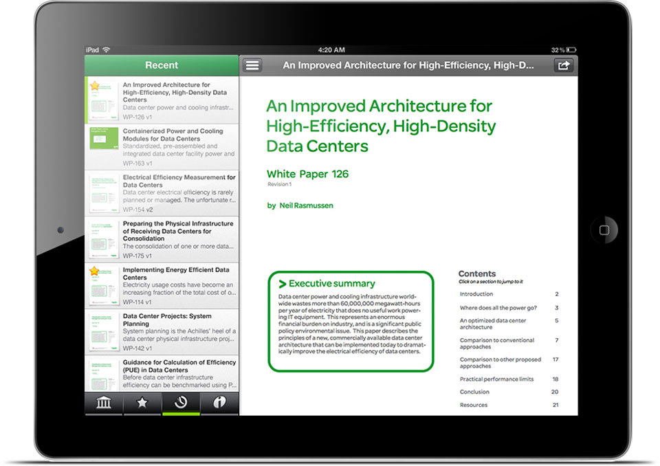 A Schneider Electric white paper is shown on an iPad.