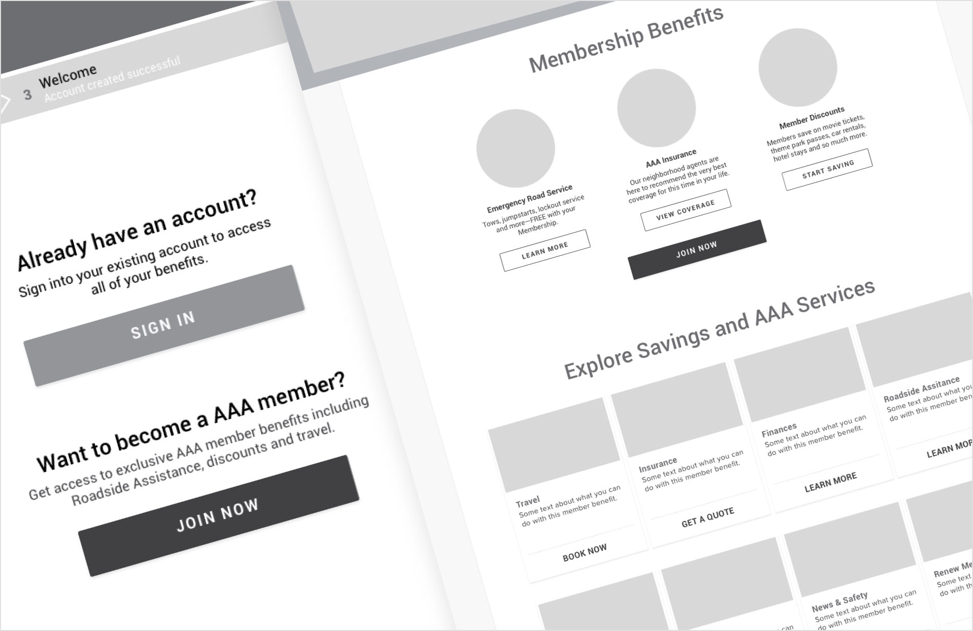 Black and white wireframes showing AAA account and membership information.