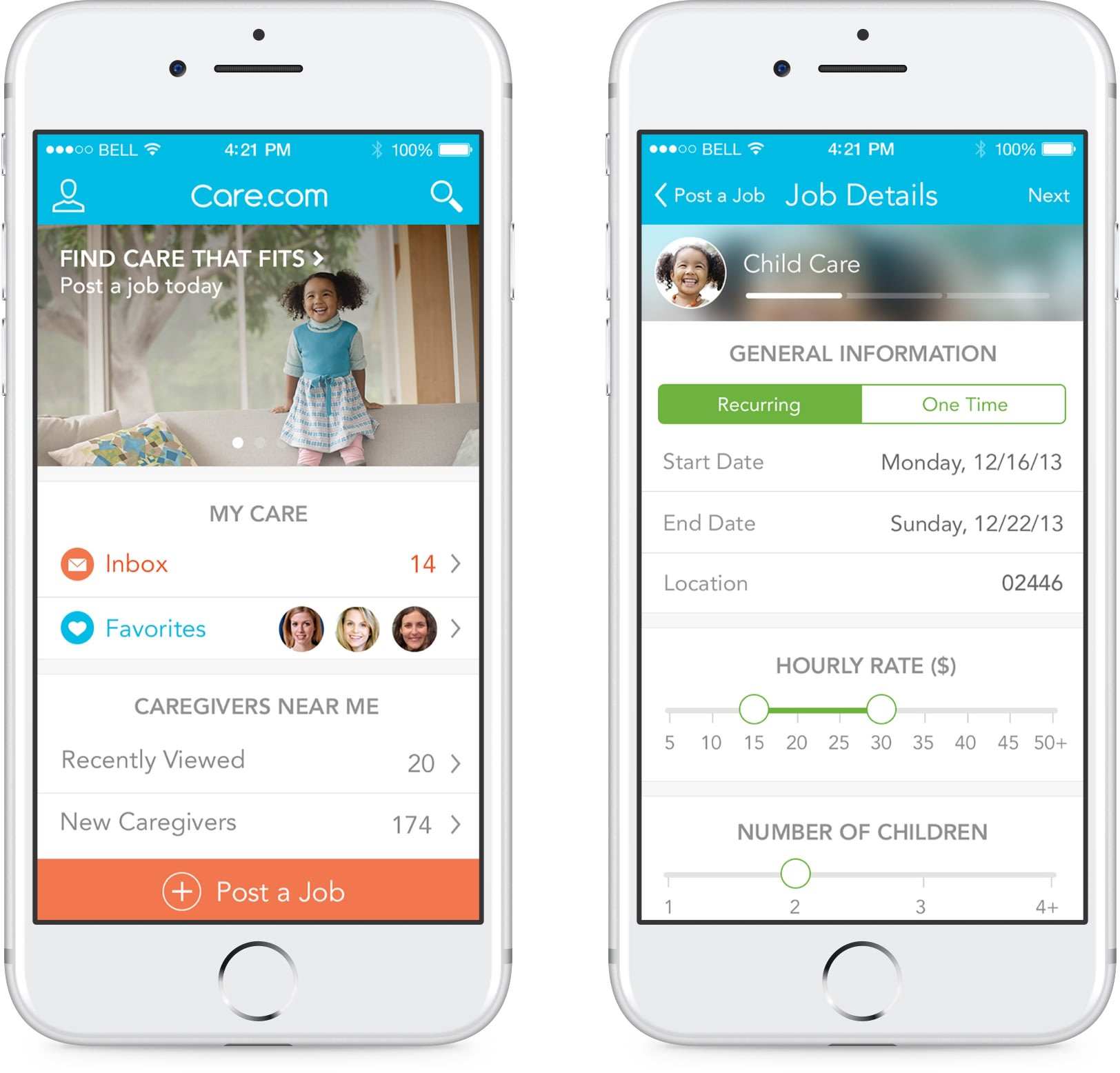 2 iPhones show the Care.com app and how users can select criteria for caregivers.