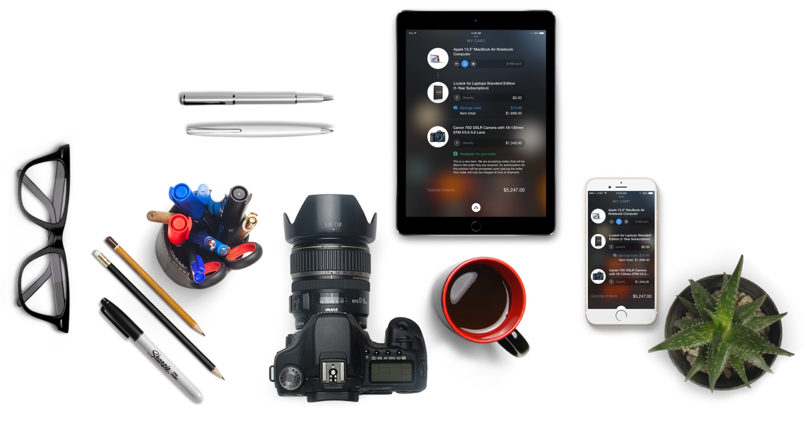 B&H Photo Equipment and App Screens