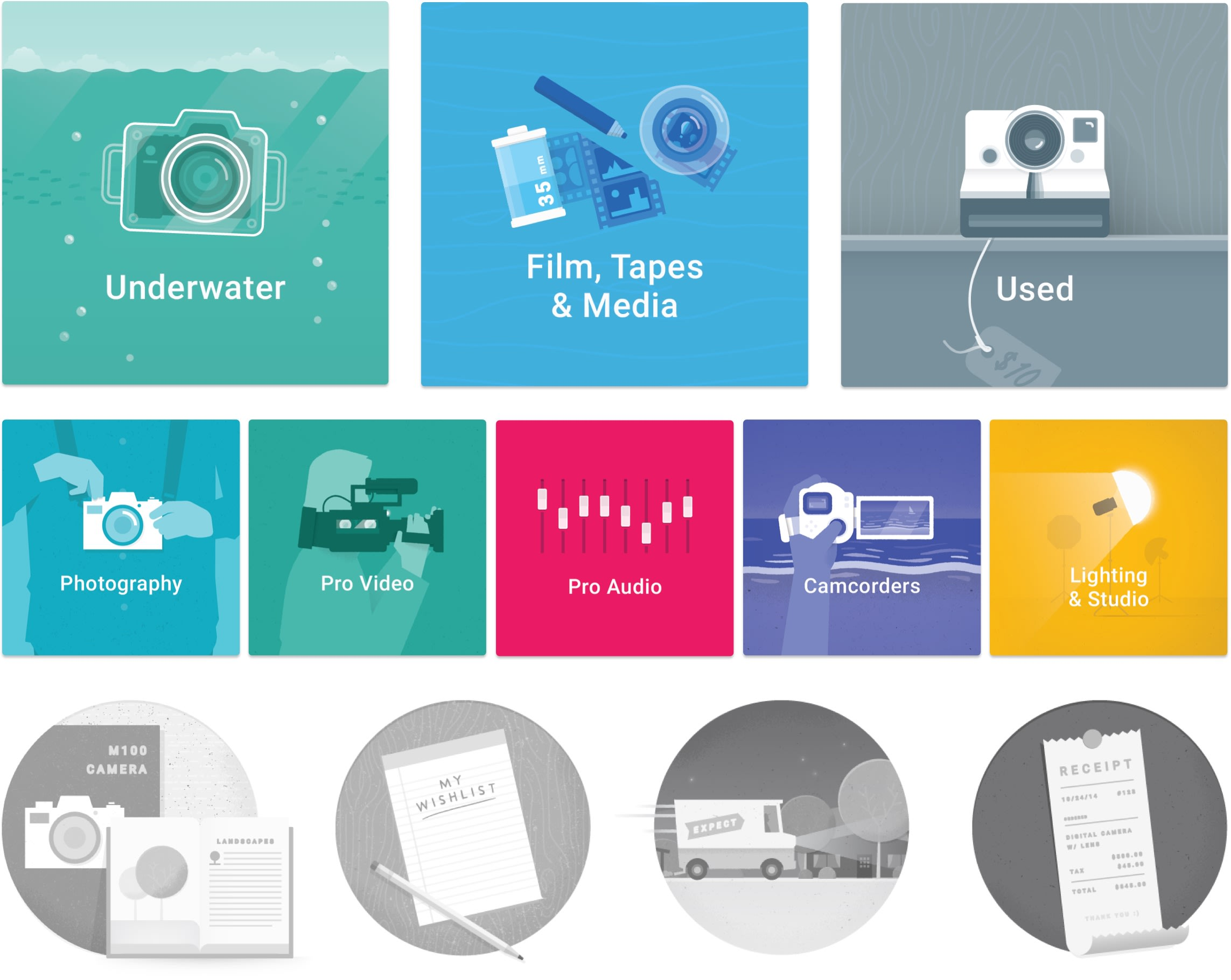 B&H Photo Material Design Illustrations and Icons