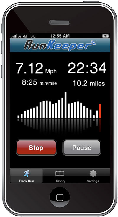 iPhone displays a users metrics for distance, time, and miles per hour.