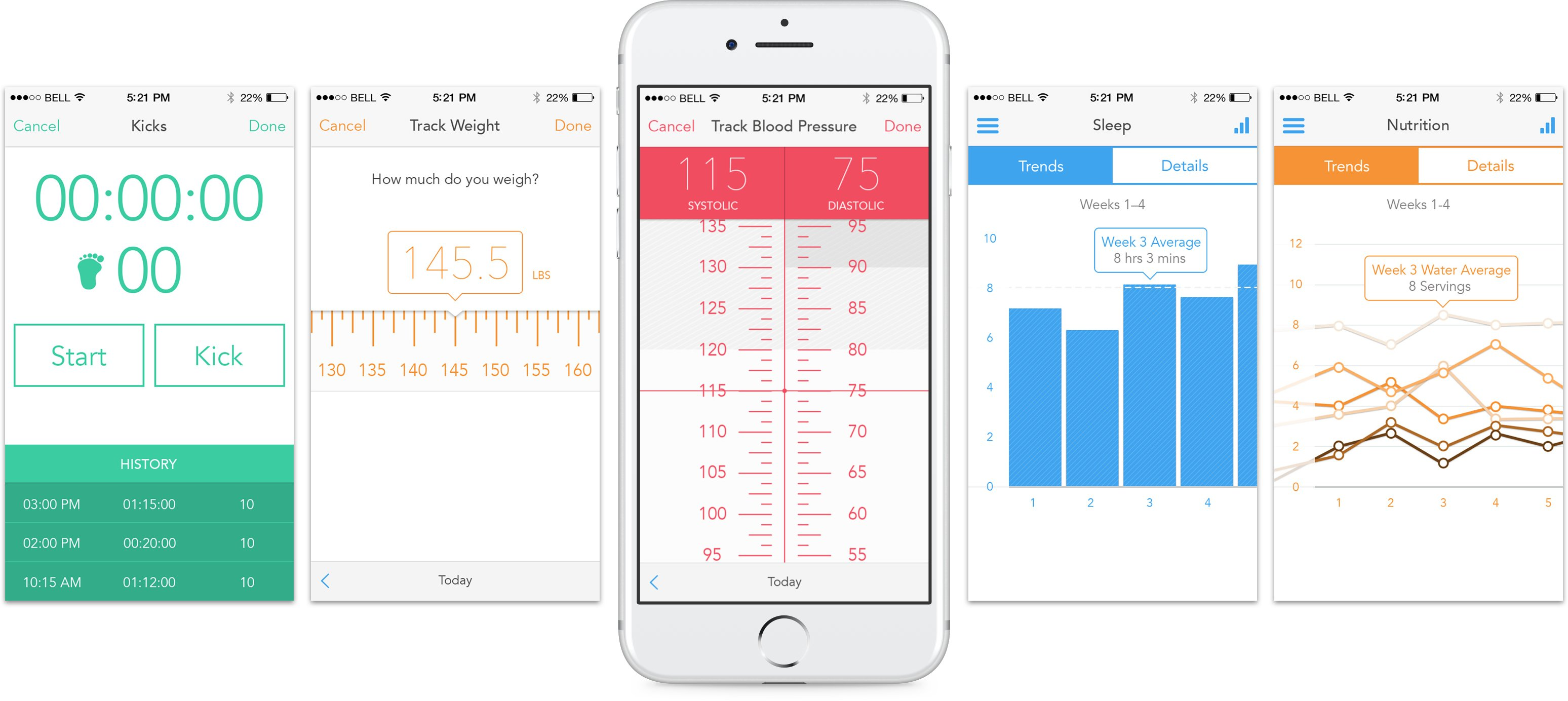 Ovia Health App Screens featuring metrics for kicks, weight, blood pressure, sleep, and nutrition.
