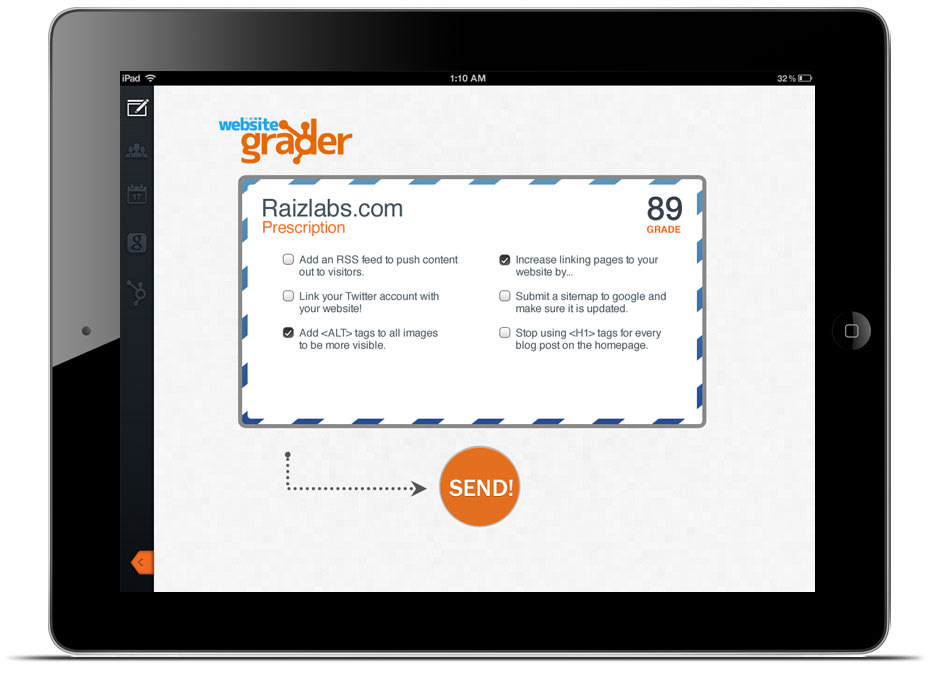 HubSpot Marketing Grader app is displayed on an iPad.