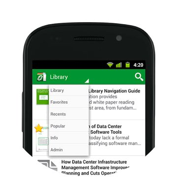 The Schneider Electric white paper library and its drop-down menu on iPhone.