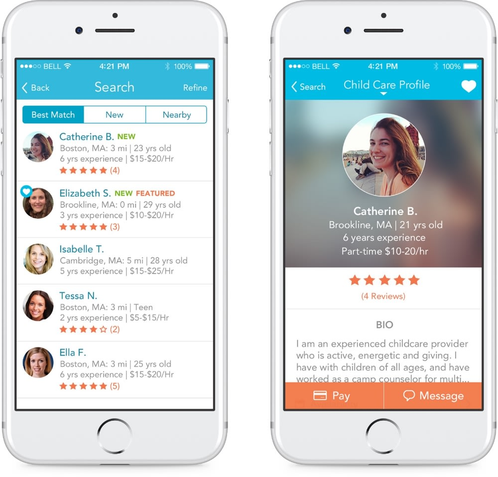 2 iPhones show how the Care.com app allows you to see caregiver ratings and reviews.