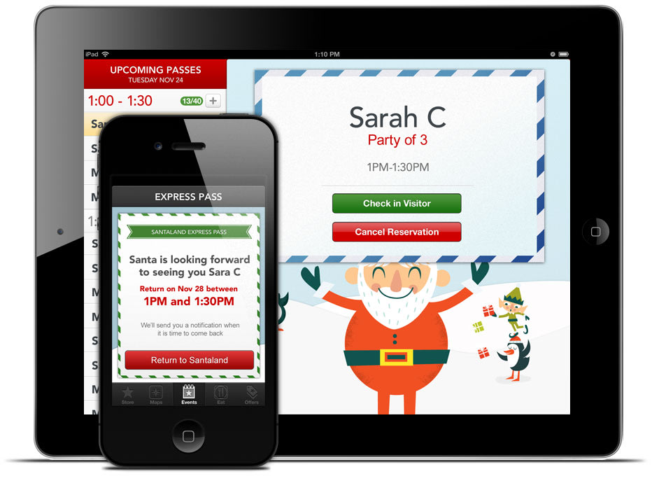 A black iPhone and iPad show the Macy's app Santa reservation page.