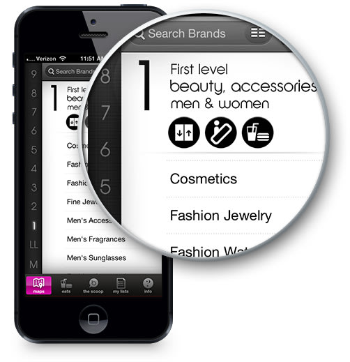 A Black iPhone shows Bloomingdale's Search Screen with the icons magnified.