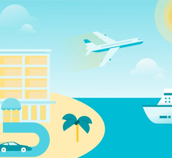 Custom illustration using Material Design and depicting a resort, beach, plane, and boat.