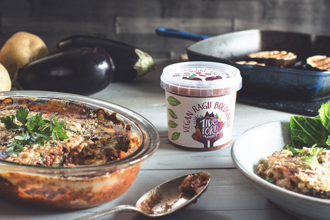 Vegan Moussaka with Tideford Organics' Ragu Bolognese