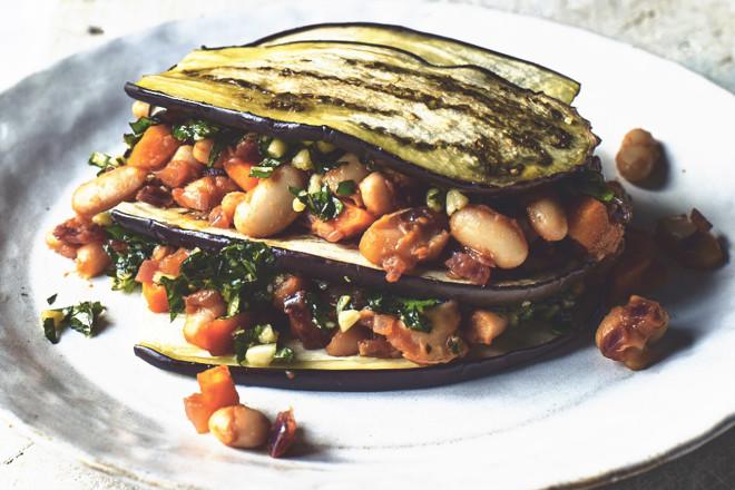 Veggie lasagne with aubergine & pesto