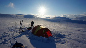 Ski expedition basecamp Tent camping summer sun snow nature Hurtigruten Svalbard 1920x1080