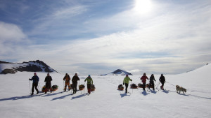 Ski expedition skiing group summer sun snow nature Hurtigruten Svalbard 1920x1080