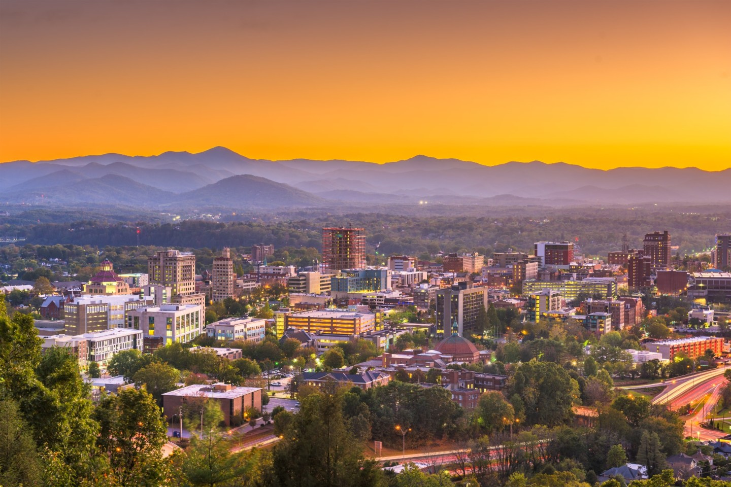 Asheville, North Carolina cityscape - nestled in the Appalachian mountains