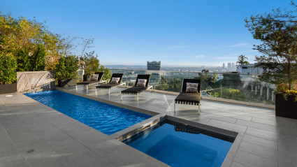 view of LA from pool